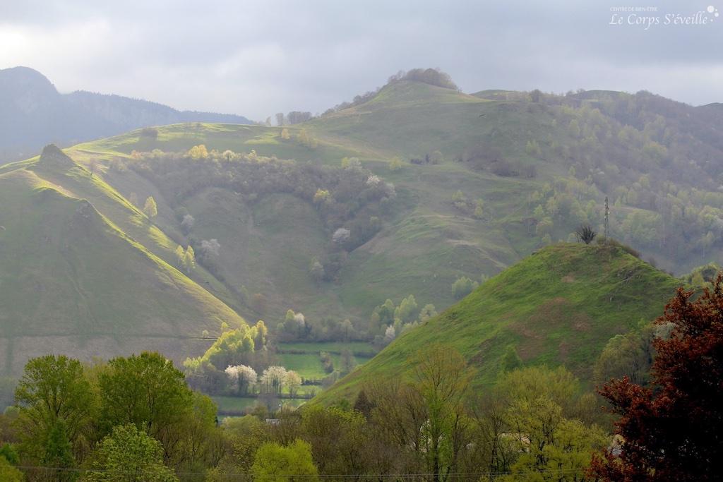 Un bien-être se prolonge après une séance de massage : un paysage de montagne, ses dégradés de couleurs en Vallée d'Aspe.