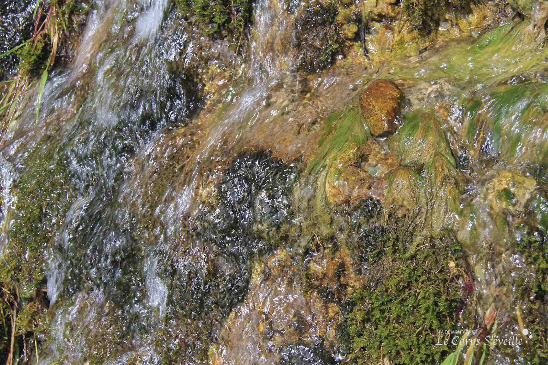 Détail de la cascade de la Roche qui pleure à Bedous.