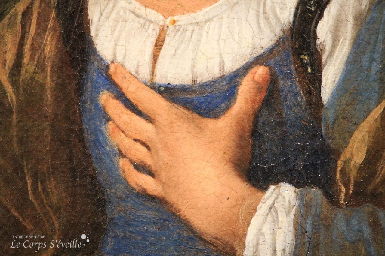Musée des beaux-arts de Pau. Détail de la peinture de Simone Cantarini : Agar et l'ange.