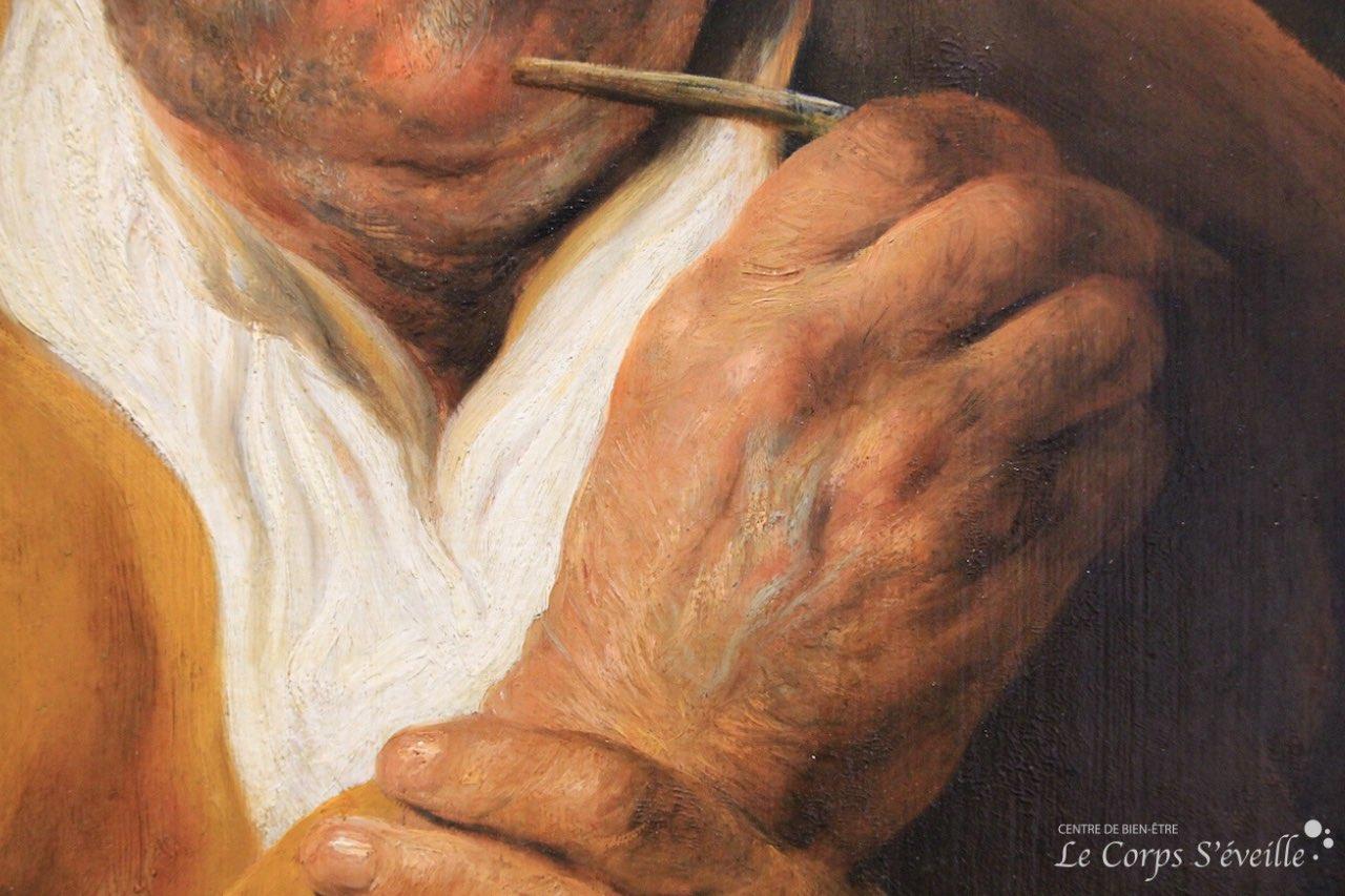 Musée des beaux-arts de Pau. Détail de la peinture de Jan Lievens : L'homme au stylet.