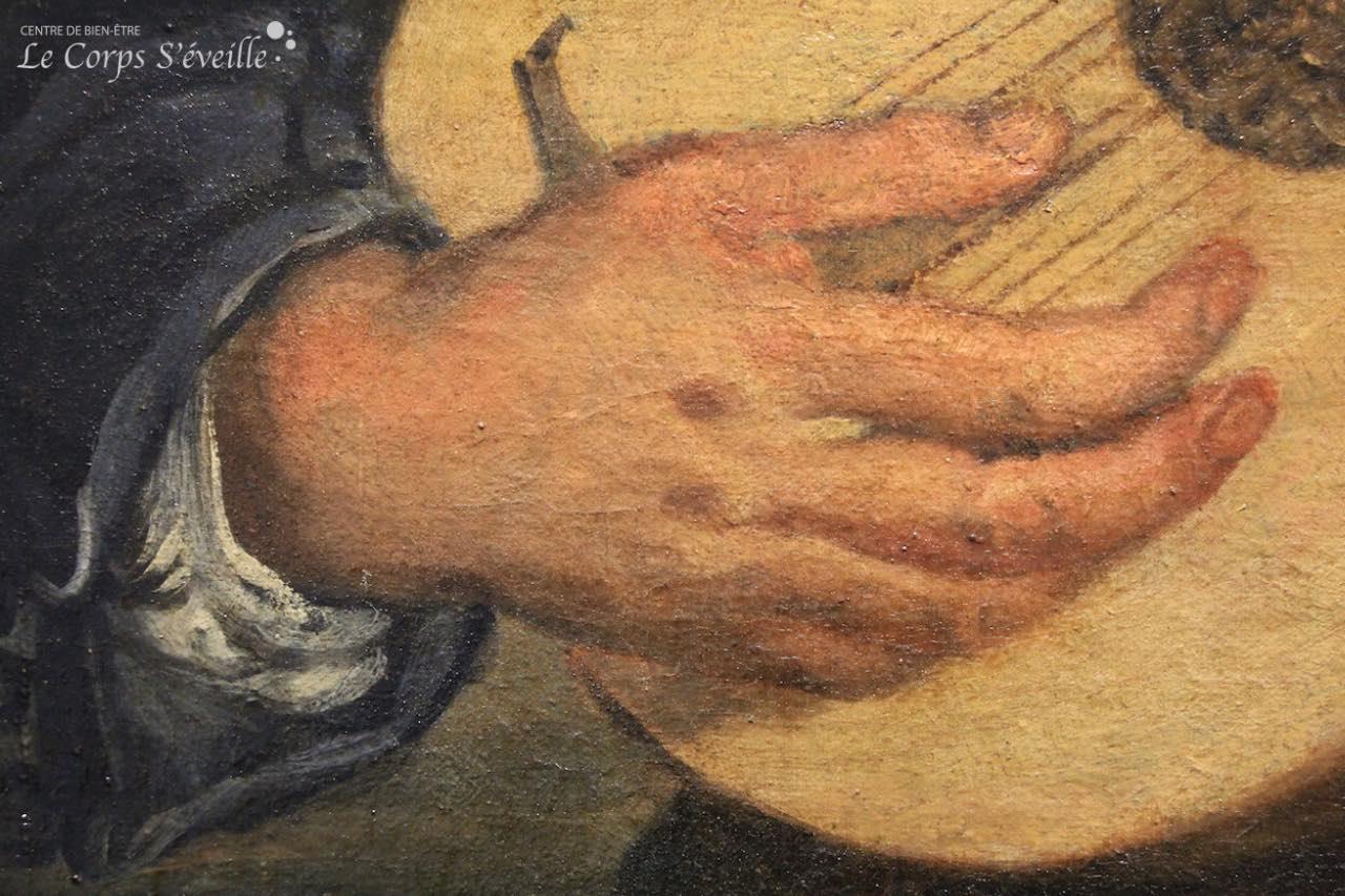 Musée des beaux-arts de Pau. Détail de la peinture de Giovanni Francisco Cipper : Chanteur au luth.