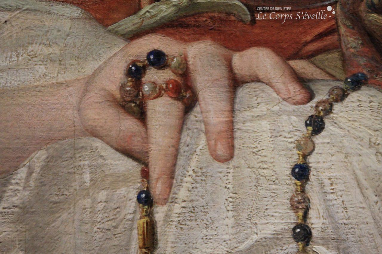 Musée des beaux-arts de Pau. Détail de la peinture de Léon Benouville : Esther à l'odalisque.