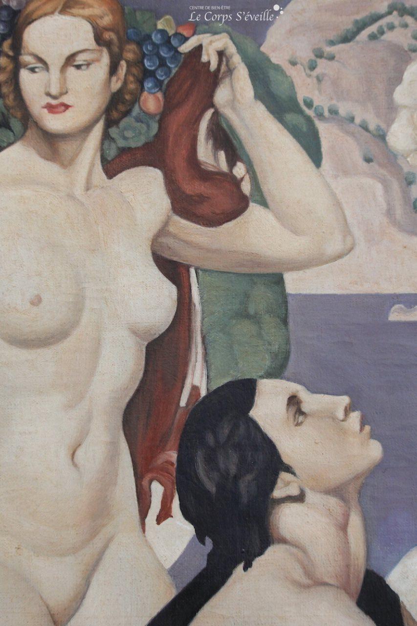 Musée des beaux-arts de Pau. Détail de la peinture de Emile Aubry : La voix de Pan.