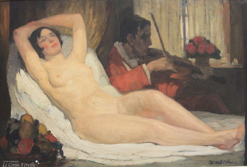 Musée des beaux-arts de Pau. Détail de la peinture de Fernand Allard L'Olivier : Le délassement.